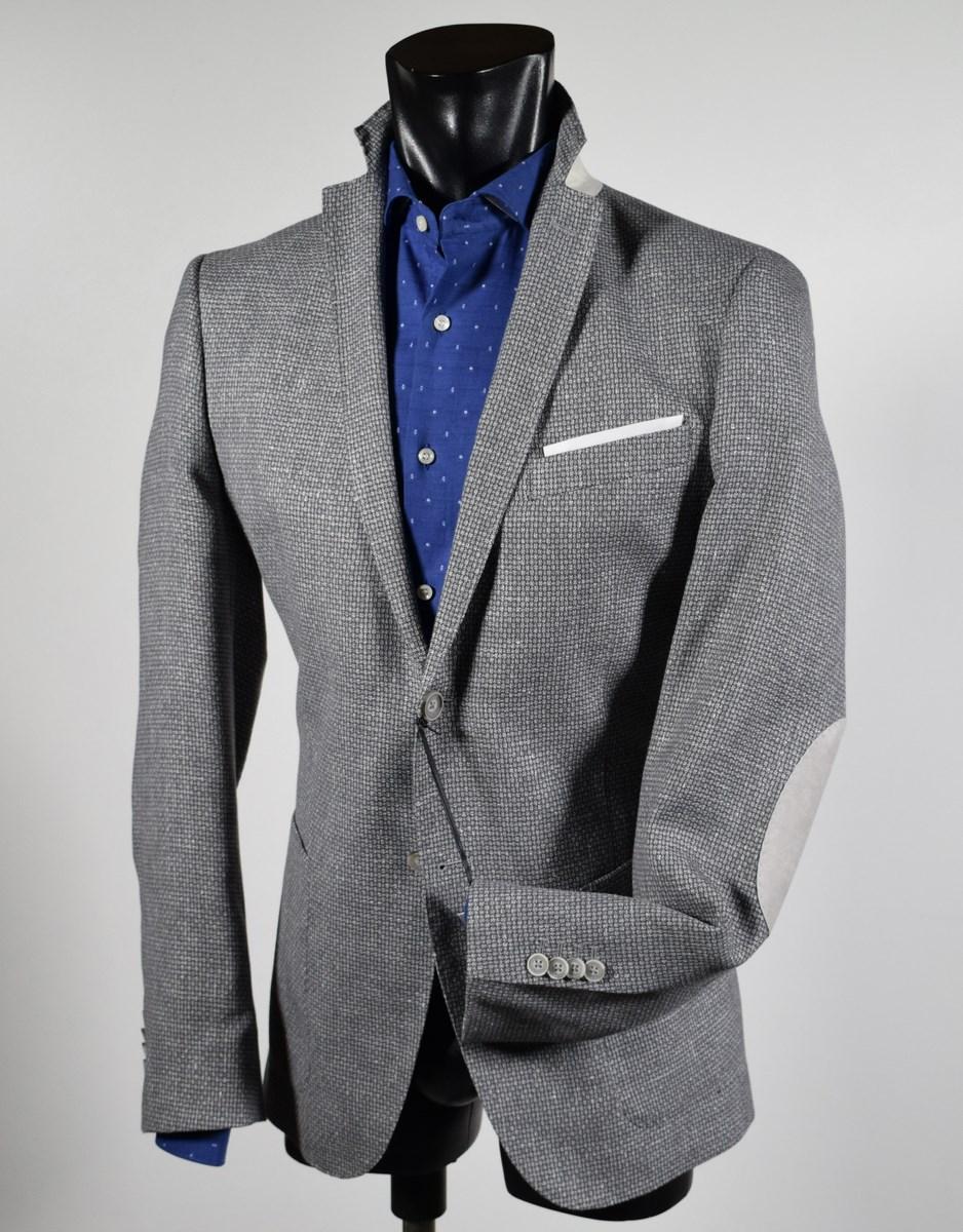 Giacca grigio chiaro con toppe John Barritt sfoderata in cotone e lino 04797eb0ddf